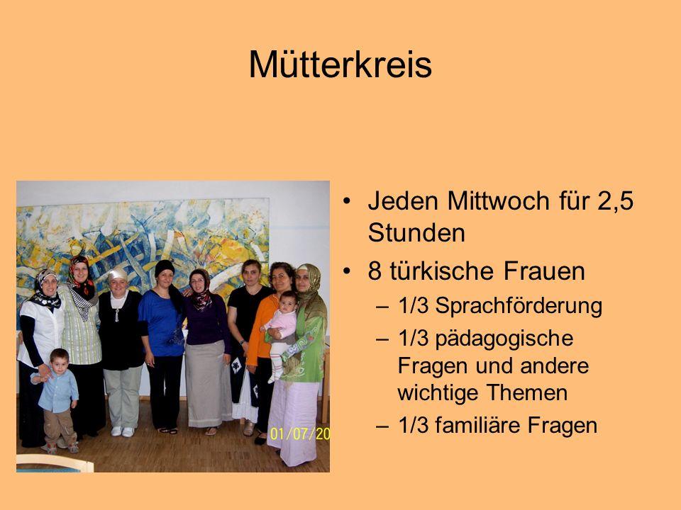 Mütterkreis Jeden Mittwoch für 2,5 Stunden 8 türkische Frauen –1/3 Sprachförderung –1/3 pädagogische Fragen und andere wichtige Themen –1/3 familiäre Fragen