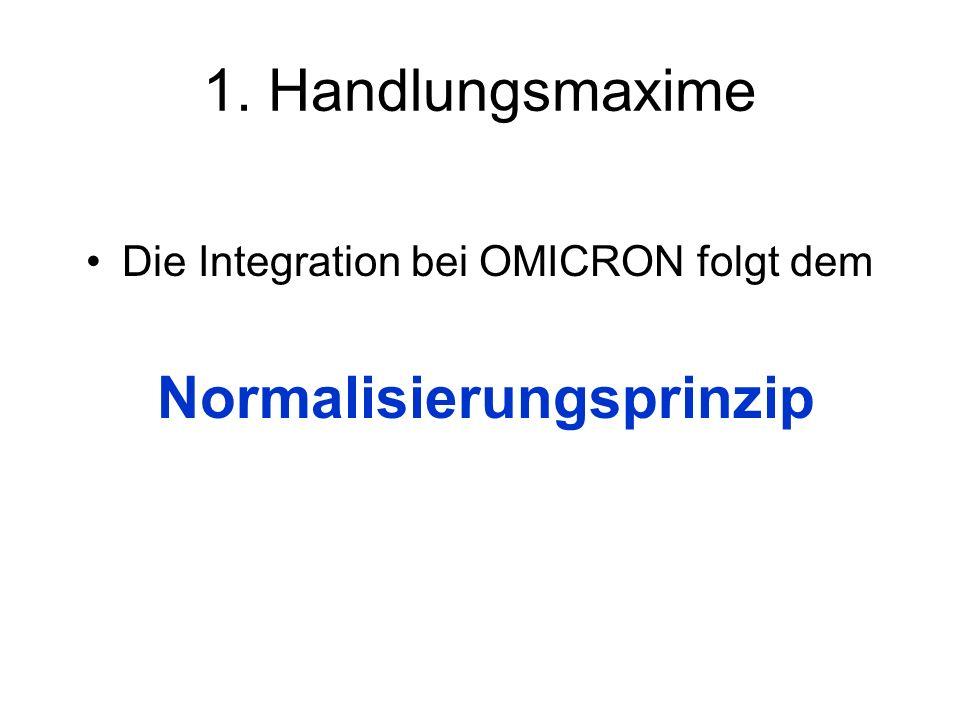 1. Handlungsmaxime Die Integration bei OMICRON folgt dem Normalisierungsprinzip