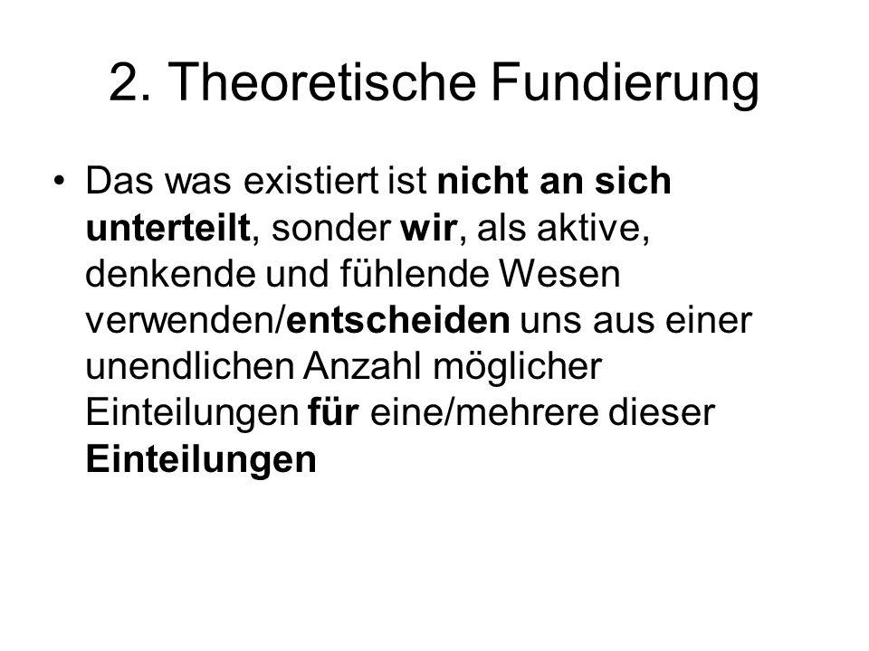 2. Theoretische Fundierung Das was existiert ist nicht an sich unterteilt, sonder wir, als aktive, denkende und fühlende Wesen verwenden/entscheiden u