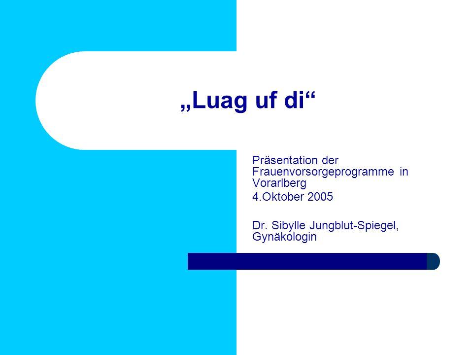 Luag uf di Präsentation der Frauenvorsorgeprogramme in Vorarlberg 4.Oktober 2005 Dr. Sibylle Jungblut-Spiegel, Gynäkologin