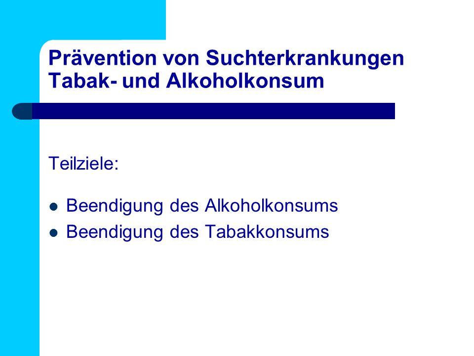 Prävention von Suchterkrankungen Tabak- und Alkoholkonsum Teilziele: Beendigung des Alkoholkonsums Beendigung des Tabakkonsums