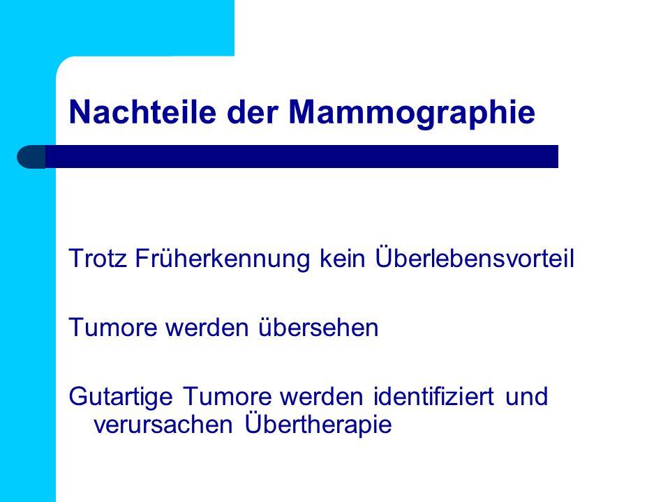 Nachteile der Mammographie Trotz Früherkennung kein Überlebensvorteil Tumore werden übersehen Gutartige Tumore werden identifiziert und verursachen Übertherapie