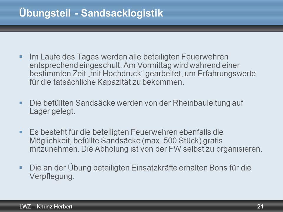LWZ – Knünz Herbert21 Übungsteil - Sandsacklogistik Im Laufe des Tages werden alle beteiligten Feuerwehren entsprechend eingeschult. Am Vormittag wird