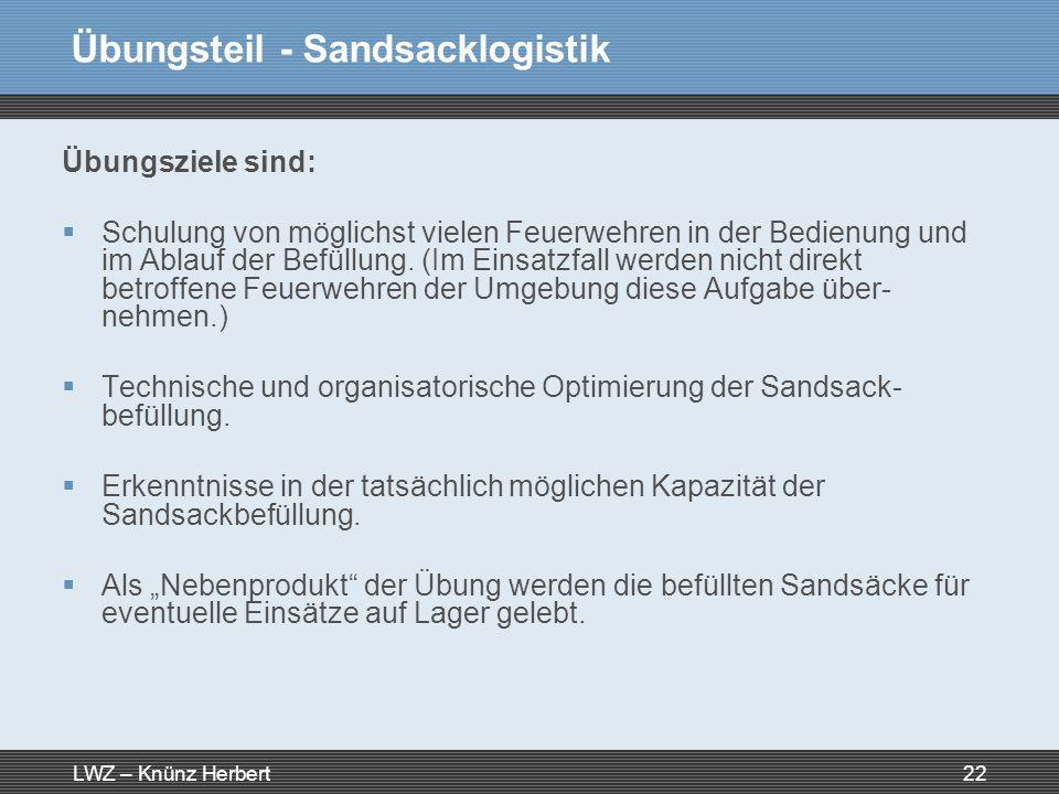 LWZ – Knünz Herbert22 Übungsteil - Sandsacklogistik Übungsziele sind: Schulung von möglichst vielen Feuerwehren in der Bedienung und im Ablauf der Bef