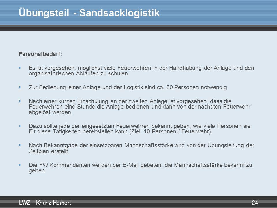 LWZ – Knünz Herbert24 Übungsteil - Sandsacklogistik Personalbedarf: Es ist vorgesehen, möglichst viele Feuerwehren in der Handhabung der Anlage und de