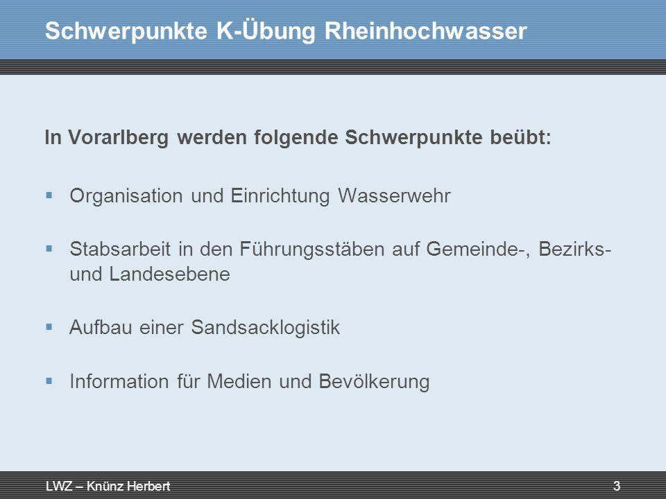 LWZ – Knünz Herbert3 Schwerpunkte K-Übung Rheinhochwasser In Vorarlberg werden folgende Schwerpunkte beübt: Organisation und Einrichtung Wasserwehr St