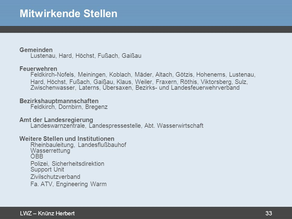 LWZ – Knünz Herbert33 Mitwirkende Stellen Gemeinden Lustenau, Hard, Höchst, Fußach, Gaißau Feuerwehren Feldkirch-Nofels, Meiningen, Koblach, Mäder, Al