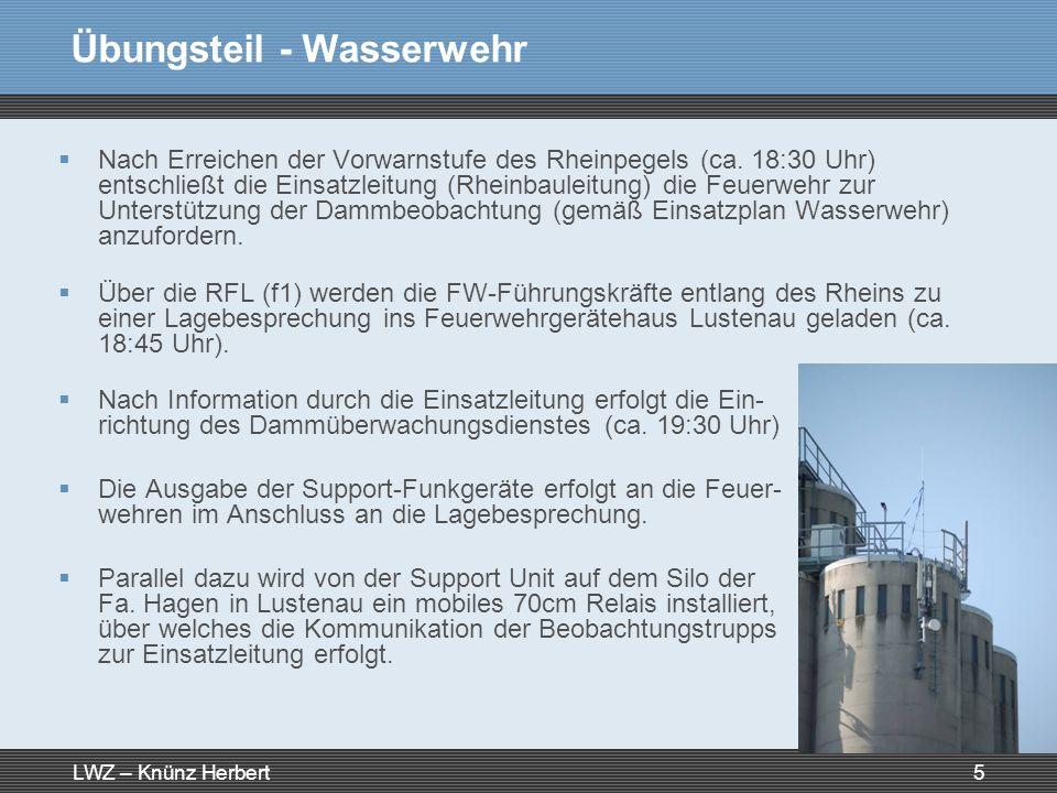 LWZ – Knünz Herbert5 Übungsteil - Wasserwehr Nach Erreichen der Vorwarnstufe des Rheinpegels (ca. 18:30 Uhr) entschließt die Einsatzleitung (Rheinbaul