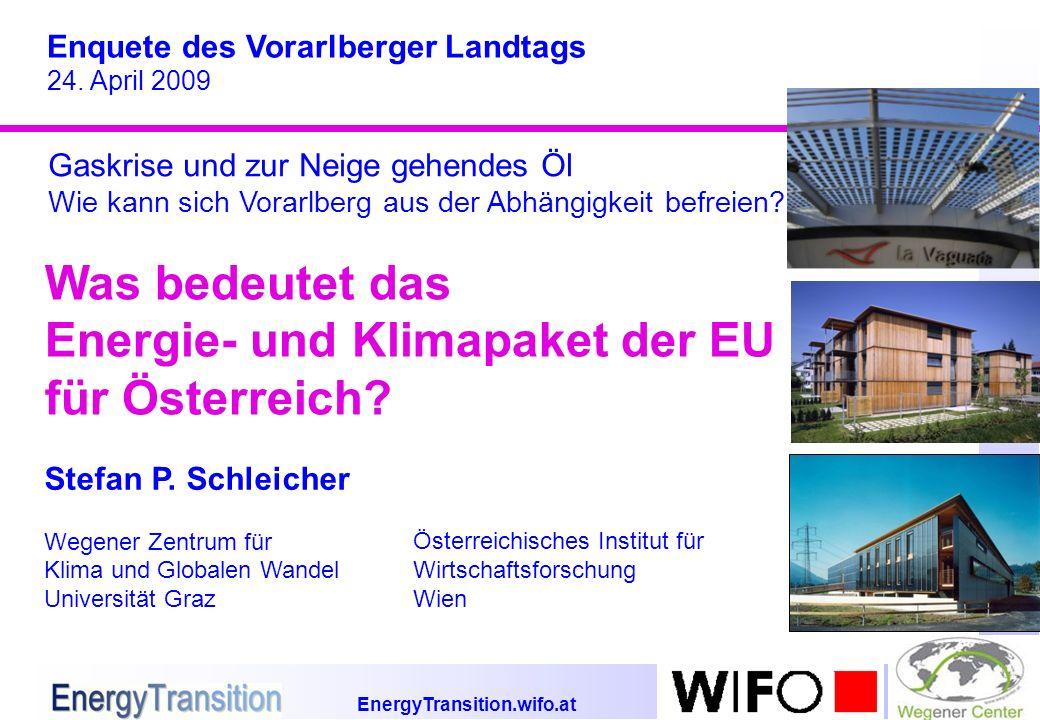 EnergyTransition.wifo.at Was bedeutet das Energie- und Klimapaket der EU für Österreich? Enquete des Vorarlberger Landtags 24. April 2009 Stefan P. Sc