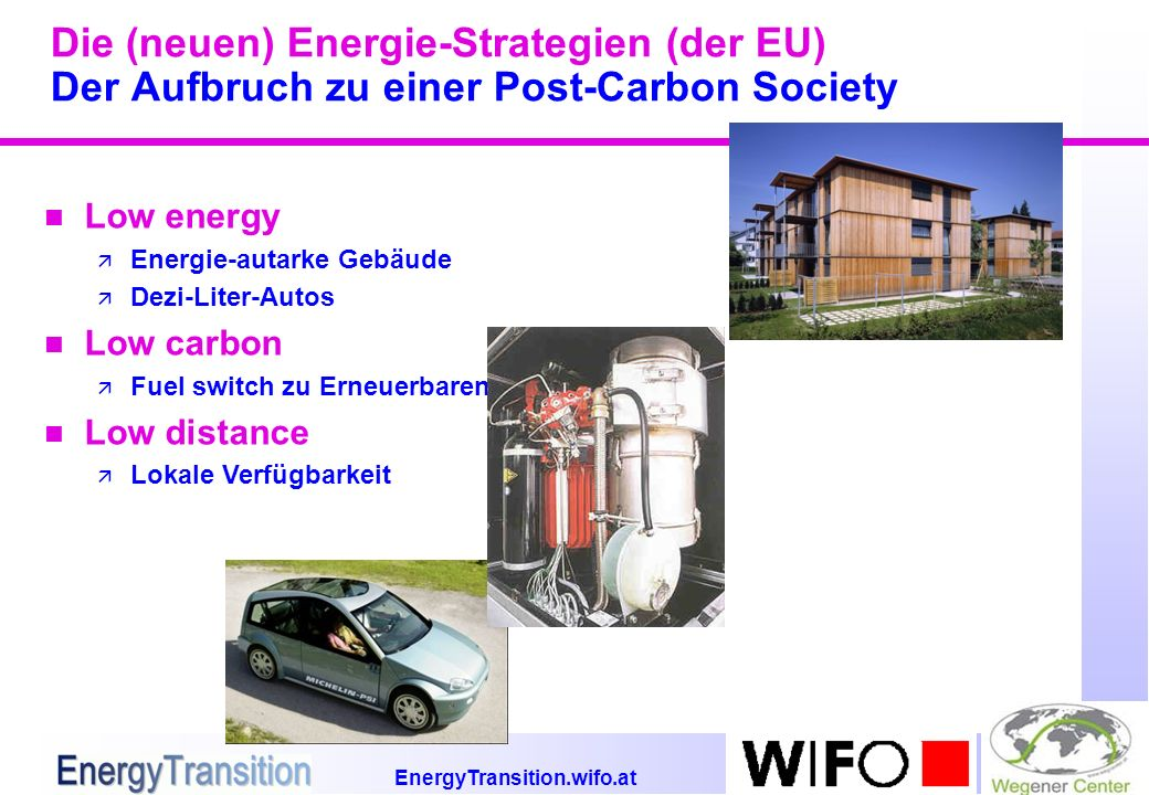 EnergyTransition.wifo.at Die (neuen) Energie-Strategien (der EU) Der Aufbruch zu einer Post-Carbon Society n Low energy ä Energie-autarke Gebäude ä Dezi-Liter-Autos n Low carbon ä Fuel switch zu Erneuerbaren n Low distance ä Lokale Verfügbarkeit