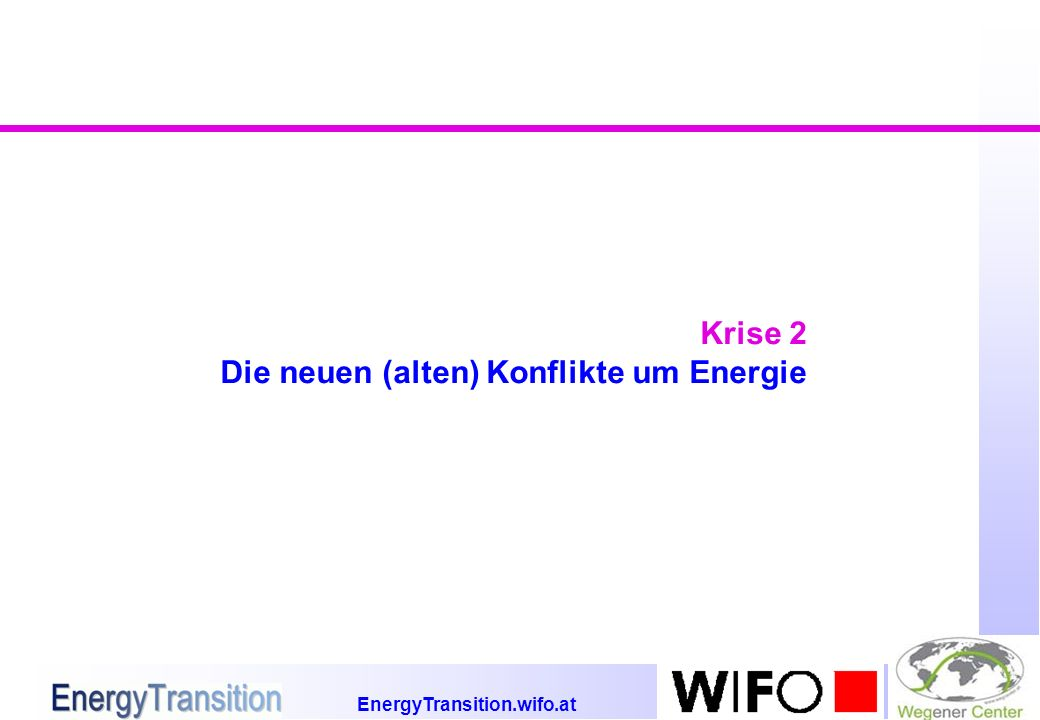 EnergyTransition.wifo.at Krise 2 Die neuen (alten) Konflikte um Energie
