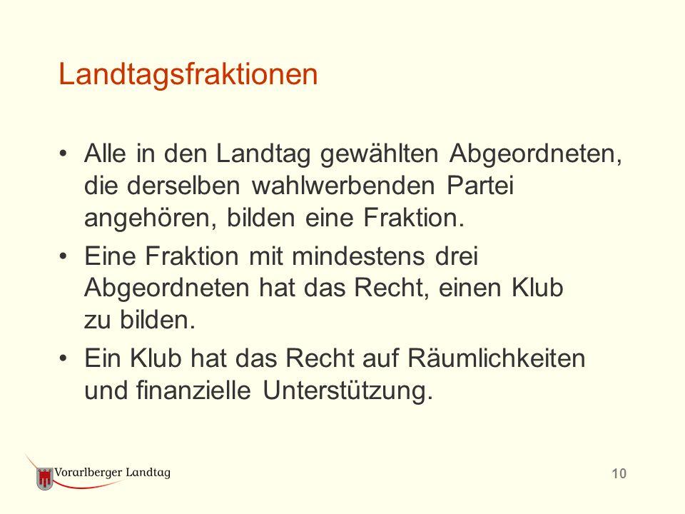 10 Landtagsfraktionen Alle in den Landtag gewählten Abgeordneten, die derselben wahlwerbenden Partei angehören, bilden eine Fraktion. Eine Fraktion mi