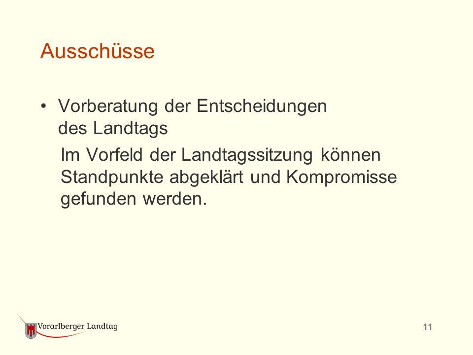 11 Ausschüsse Vorberatung der Entscheidungen des Landtags Im Vorfeld der Landtagssitzung können Standpunkte abgeklärt und Kompromisse gefunden werden.