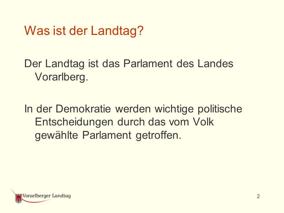 2 Was ist der Landtag? Der Landtag ist das Parlament des Landes Vorarlberg. In der Demokratie werden wichtige politische Entscheidungen durch das vom