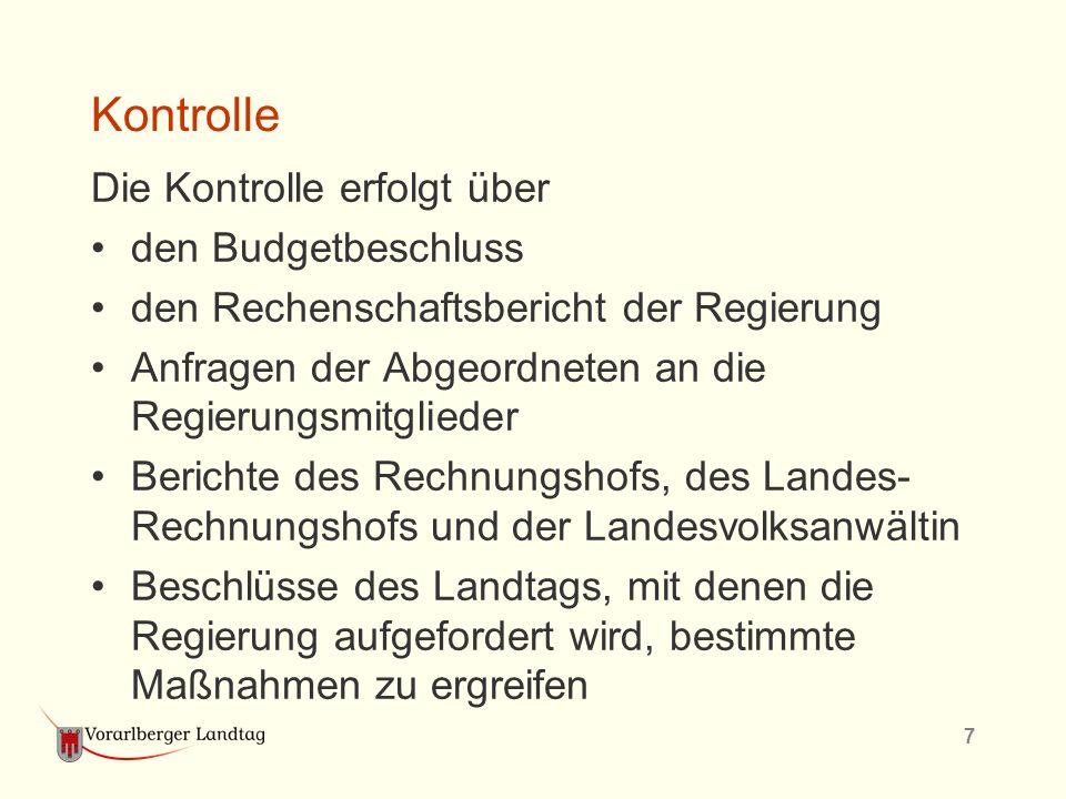 7 Kontrolle Die Kontrolle erfolgt über den Budgetbeschluss den Rechenschaftsbericht der Regierung Anfragen der Abgeordneten an die Regierungsmitgliede