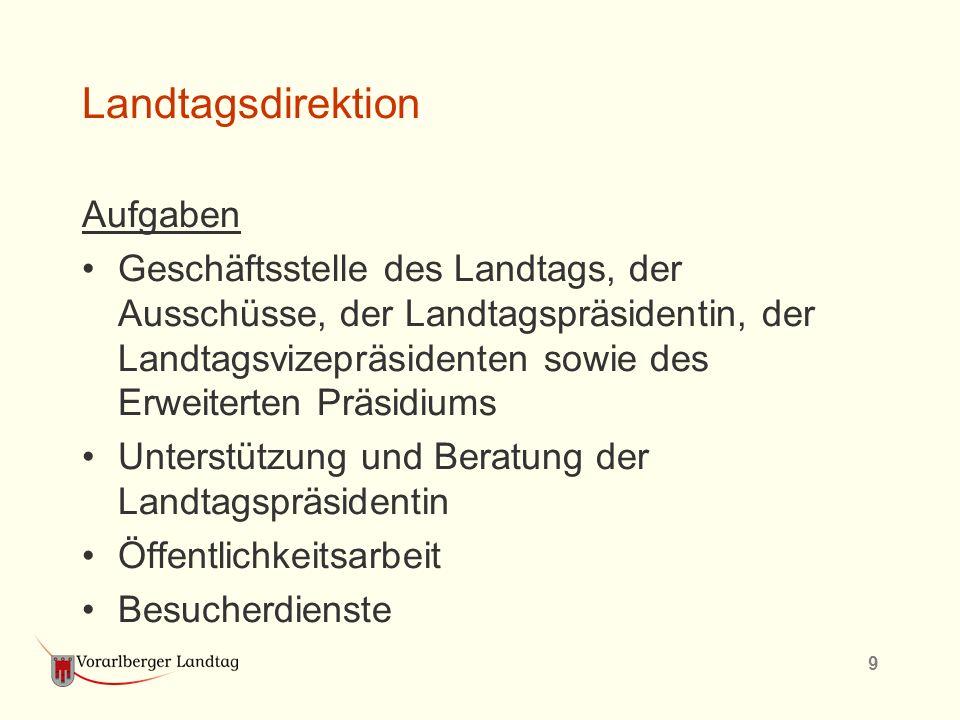9 Landtagsdirektion Aufgaben Geschäftsstelle des Landtags, der Ausschüsse, der Landtagspräsidentin, der Landtagsvizepräsidenten sowie des Erweiterten