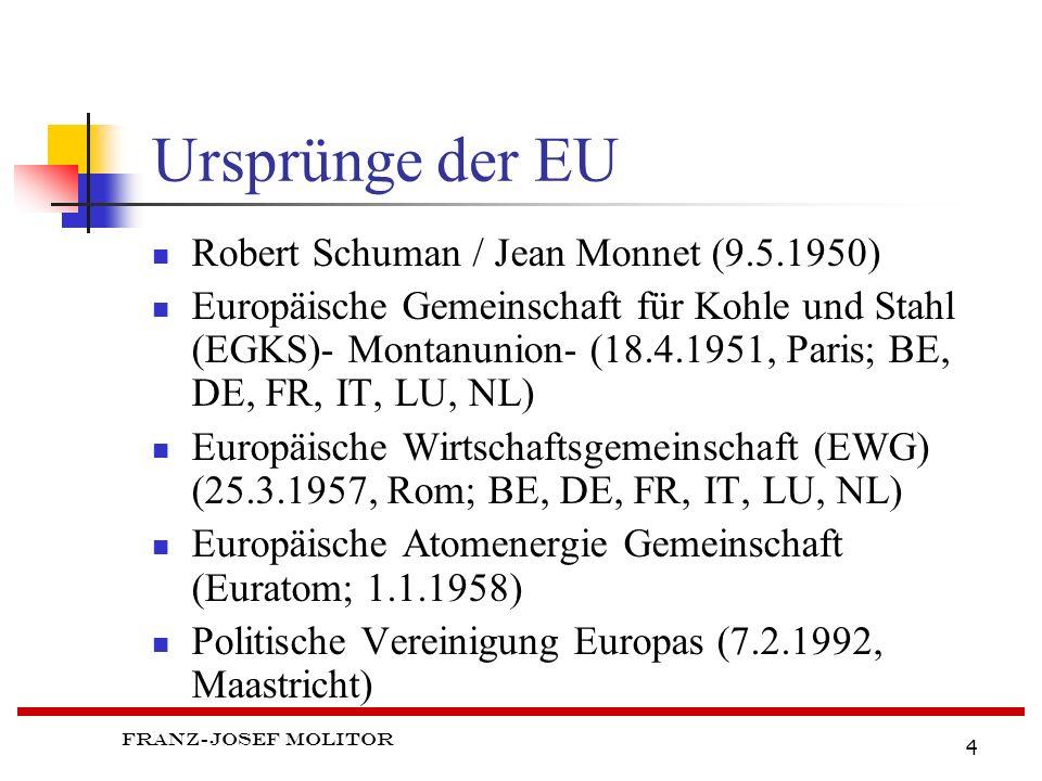 Franz-Josef Molitor 4 Ursprünge der EU Robert Schuman / Jean Monnet (9.5.1950) Europäische Gemeinschaft für Kohle und Stahl (EGKS)- Montanunion- (18.4.1951, Paris; BE, DE, FR, IT, LU, NL) Europäische Wirtschaftsgemeinschaft (EWG) (25.3.1957, Rom; BE, DE, FR, IT, LU, NL) Europäische Atomenergie Gemeinschaft (Euratom; 1.1.1958) Politische Vereinigung Europas (7.2.1992, Maastricht)