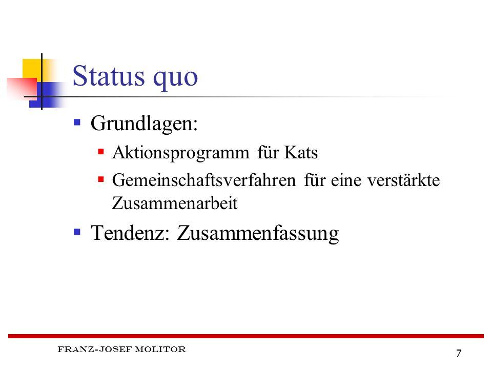 Franz-Josef Molitor 7 Status quo Grundlagen: Aktionsprogramm für Kats Gemeinschaftsverfahren für eine verstärkte Zusammenarbeit Tendenz: Zusammenfassung