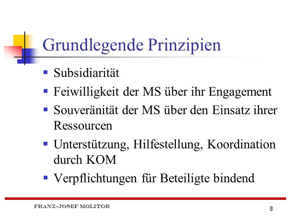 Franz-Josef Molitor 8 Grundlegende Prinzipien Subsidiarität Feiwilligkeit der MS über ihr Engagement Souveränität der MS über den Einsatz ihrer Ressourcen Unterstützung, Hilfestellung, Koordination durch KOM Verpflichtungen für Beteiligte bindend