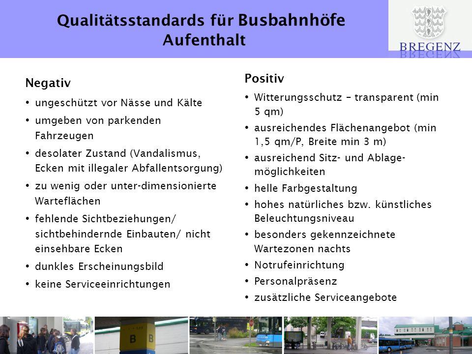 Qualitätsstandards für Busbahnhöfe Aufenthalt Negativ ungeschützt vor Nässe und Kälte umgeben von parkenden Fahrzeugen desolater Zustand (Vandalismus,