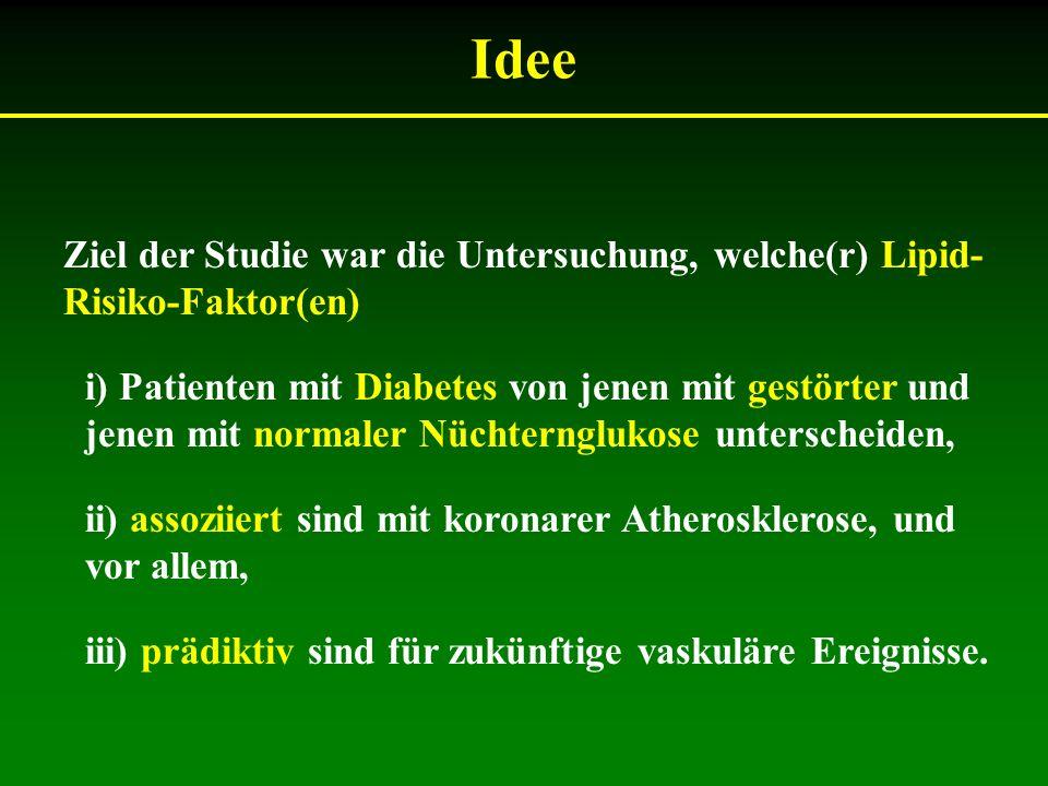 Idee Ziel der Studie war die Untersuchung, welche(r) Lipid- Risiko-Faktor(en) i) Patienten mit Diabetes von jenen mit gestörter und jenen mit normaler