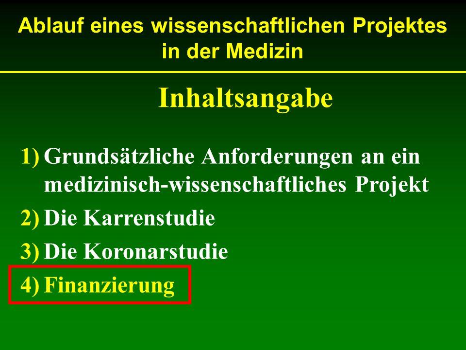 Ablauf eines wissenschaftlichen Projektes in der Medizin 1)Grundsätzliche Anforderungen an ein medizinisch-wissenschaftliches Projekt 2)Die Karrenstud