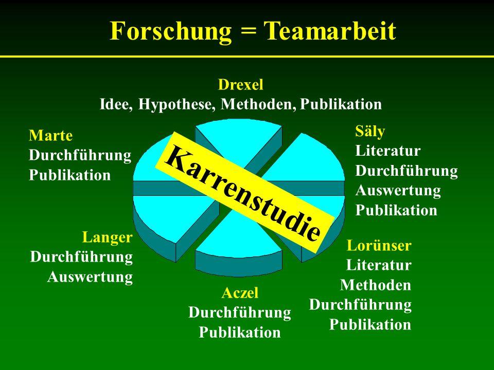 Forschung = Teamarbeit Lorünser Literatur Methoden Durchführung Publikation Drexel Idee, Hypothese, Methoden, Publikation Aczel Durchführung Publikati