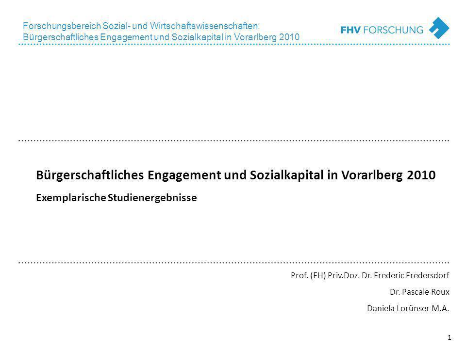 1 Forschungsbereich Sozial- und Wirtschaftswissenschaften: Bürgerschaftliches Engagement und Sozialkapital in Vorarlberg 2010 Bürgerschaftliches Engagement und Sozialkapital in Vorarlberg 2010 Exemplarische Studienergebnisse Prof.
