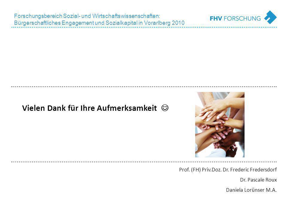 Forschungsbereich Sozial- und Wirtschaftswissenschaften: Bürgerschaftliches Engagement und Sozialkapital in Vorarlberg 2010 Vielen Dank für Ihre Aufmerksamkeit Prof.