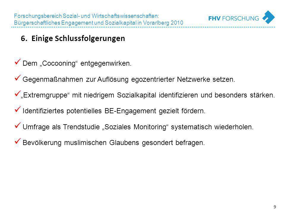 9 Forschungsbereich Sozial- und Wirtschaftswissenschaften: Bürgerschaftliches Engagement und Sozialkapital in Vorarlberg 2010 6.