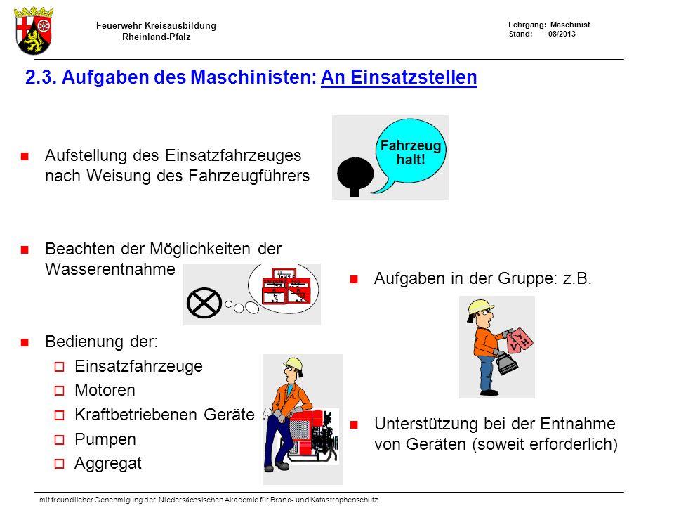 Feuerwehr-Kreisausbildung Rheinland-Pfalz Lehrgang: Maschinist Stand: 08/2013 mit freundlicher Genehmigung der Niedersächsischen Akademie für Brand- u