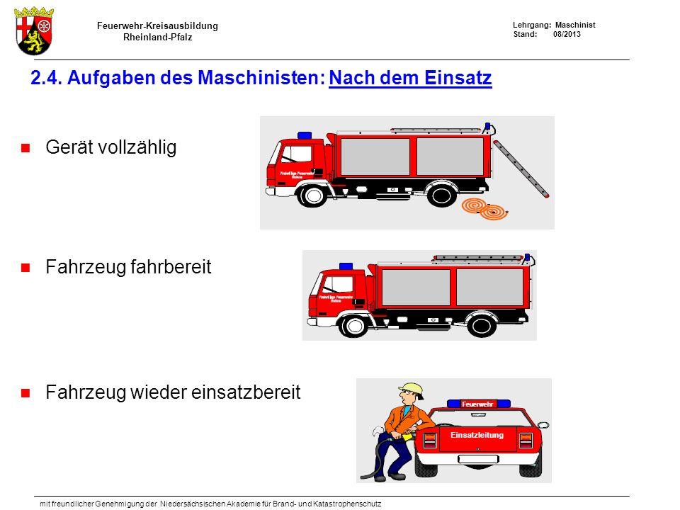 Feuerwehr-Kreisausbildung Rheinland-Pfalz Lehrgang: Maschinist Stand: 08/2013 mit freundlicher Genehmigung der Niedersächsischen Akademie für Brand- und Katastrophenschutz 2.4.