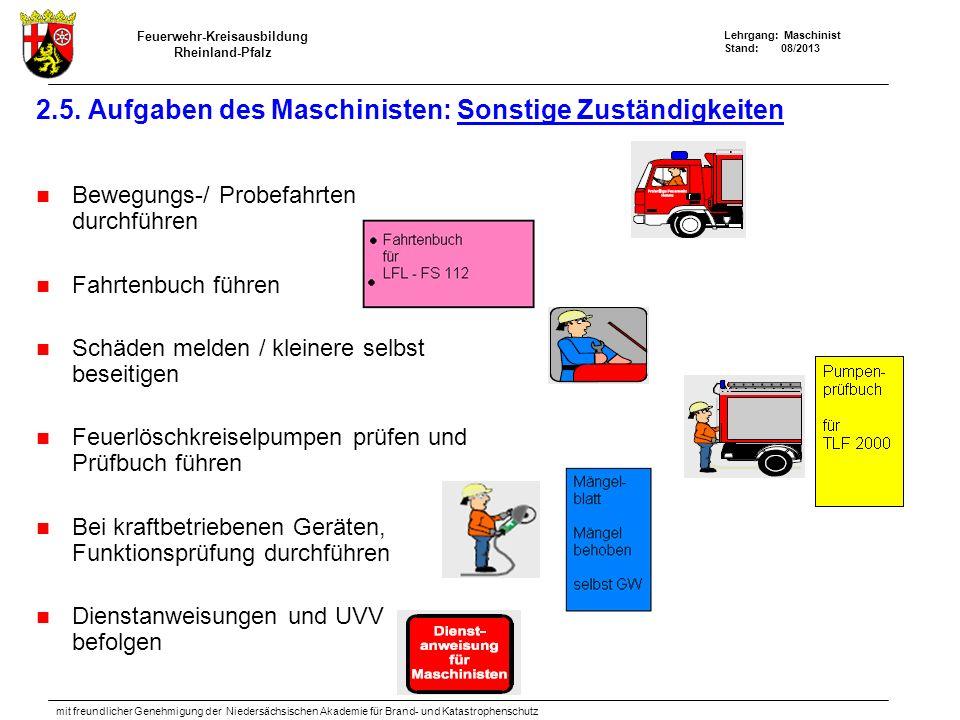 Feuerwehr-Kreisausbildung Rheinland-Pfalz Lehrgang: Maschinist Stand: 08/2013 mit freundlicher Genehmigung der Niedersächsischen Akademie für Brand- und Katastrophenschutz 2.5.