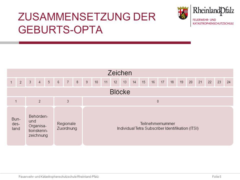 Folie 5Feuerwehr- und Katastrophenschutzschule Rheinland-Pfalz ZUSAMMENSETZUNG DER GEBURTS-OPTA 1 2 2034521672289101211191813242314171615 321 Blöcke 0
