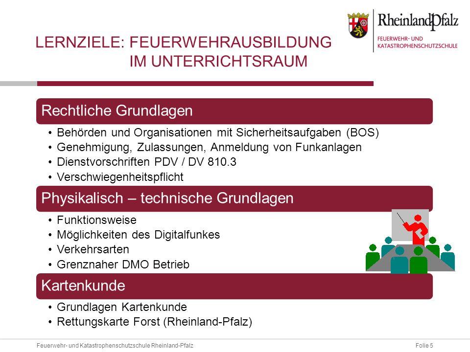 Folie 6Feuerwehr- und Katastrophenschutzschule Rheinland-Pfalz Sprechfunkbetrieb Gerätekunde Funkrufnamen Kommunikation Meldungen Praktische Übung LERNZIELE: FEUERWEHRAUSBILDUNG IN DER PRAXIS