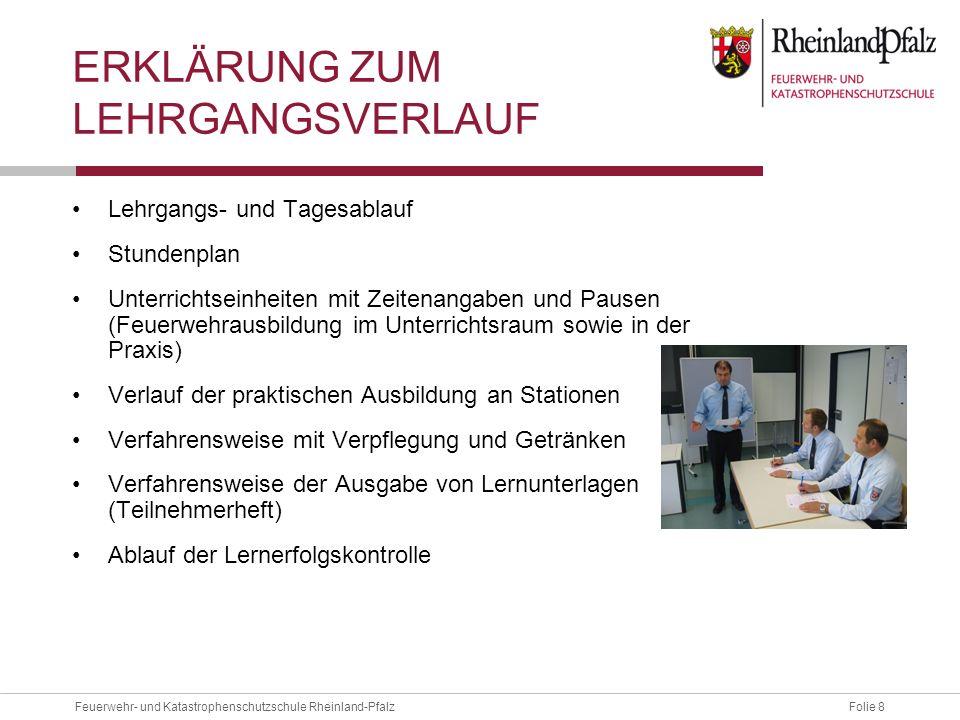 Folie 8Feuerwehr- und Katastrophenschutzschule Rheinland-Pfalz ERKLÄRUNG ZUM LEHRGANGSVERLAUF Lehrgangs- und Tagesablauf Stundenplan Unterrichtseinhei