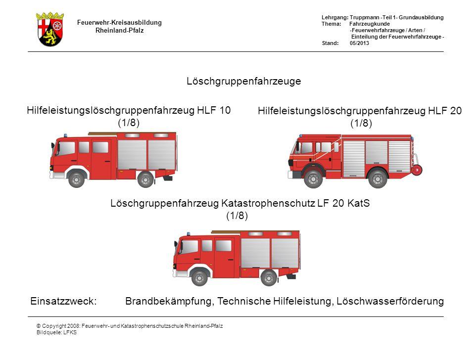Feuerwehr-Kreisausbildung Rheinland-Pfalz Lehrgang: Truppmann -Teil 1- Grundausbildung Thema: Fahrzeugkunde -Feuerwehrfahrzeuge / Arten / Einteilung der Feuerwehrfahrzeuge - Stand: 05/2013 © Copyright 2008: Feuerwehr- und Katastrophenschutzschule Rheinland-Pfalz Bildquelle: LFKS TLF Tanklöschfahrzeuge Einsatzzweck:Brandbekämpfung, Löschwassertransport TLF 2000 (1/2) TLF 4000 (1/2) TLF 3000 (1/2)