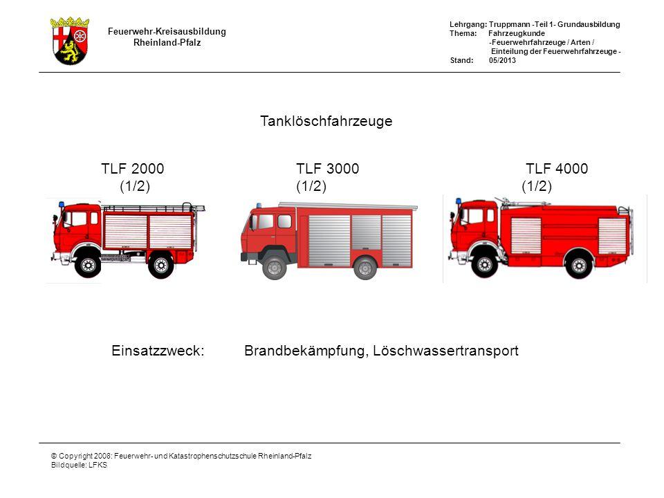Feuerwehr-Kreisausbildung Rheinland-Pfalz Lehrgang: Truppmann -Teil 1- Grundausbildung Thema: Fahrzeugkunde -Feuerwehrfahrzeuge / Arten / Einteilung der Feuerwehrfahrzeuge - Stand: 05/2013 © Copyright 2008: Feuerwehr- und Katastrophenschutzschule Rheinland-Pfalz Bildquelle: LFKS Hubrettungsfahrzeuge Einsatzzweck:Menschenrettung, Brandbekämpfung, Technische Hilfe DLA(K) 12-9, DLA(K) 18-12, DLA(K) 23-12 Hinweis: A = Automatik Teleskopgelenkmast TGM (1/2) TGM 18/12 TGM 23/12 Drehleiter DL (1/2)