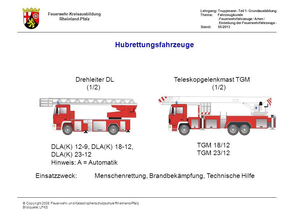Feuerwehr-Kreisausbildung Rheinland-Pfalz Lehrgang: Truppmann -Teil 1- Grundausbildung Thema: Fahrzeugkunde -Feuerwehrfahrzeuge / Arten / Einteilung der Feuerwehrfahrzeuge - Stand: 05/2013 © Copyright 2008: Feuerwehr- und Katastrophenschutzschule Rheinland-Pfalz Bildquelle: LFKS RW/GW Rüst- und Gerätefahrzeuge Einsatzzweck:Technische Hilfeleistung, Bereitstellen von Geräten Vorrausrüstwagen VRW (TR 6 RP) (1/2) Rüstwagen RW (1/2)