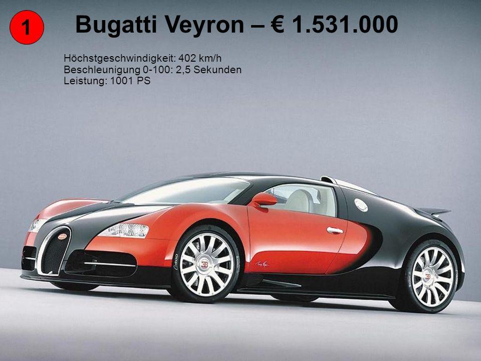 1 Bugatti Veyron – 1.531.000 Höchstgeschwindigkeit: 402 km/h Beschleunigung 0-100: 2,5 Sekunden Leistung: 1001 PS