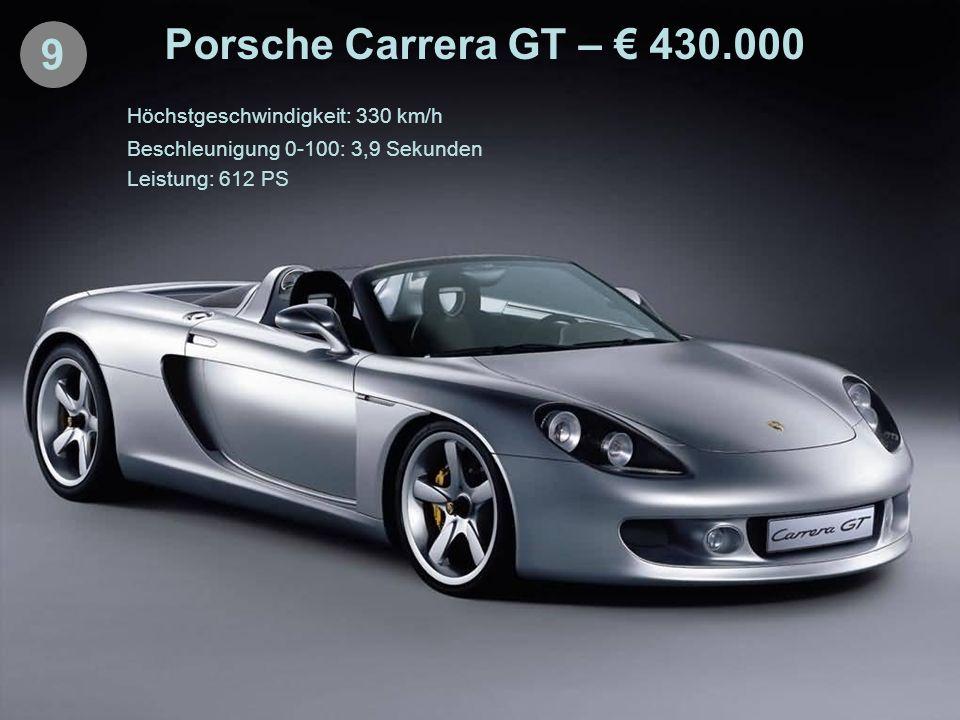 9 Porsche Carrera GT – 430.000 Höchstgeschwindigkeit: 330 km/h Beschleunigung 0-100: 3,9 Sekunden Leistung: 612 PS