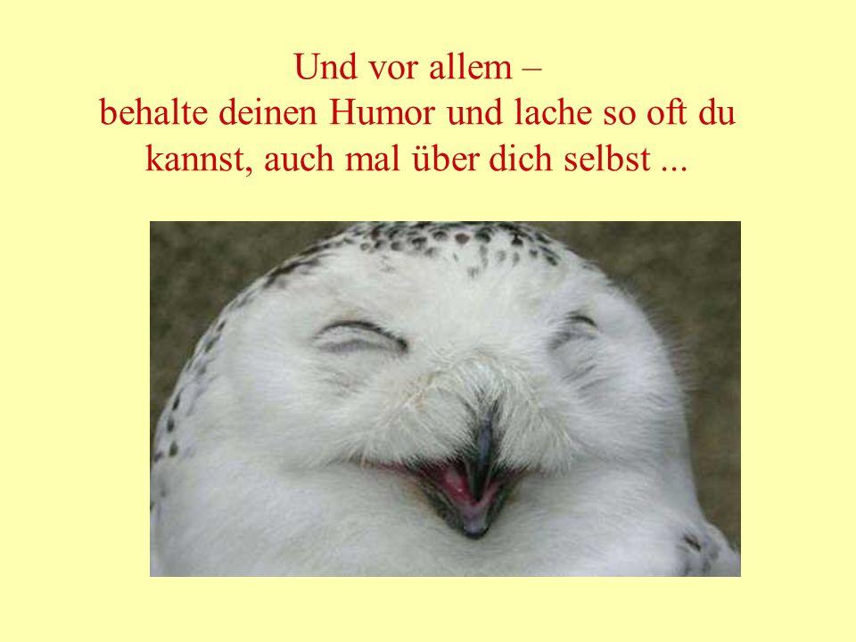 Und vor allem – behalte deinen Humor und lache so oft du kannst, auch mal über dich selbst...