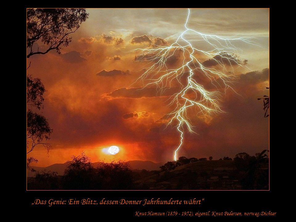 Das Genie: Ein Blitz, dessen Donner Jahrhunderte währt Knut Hamsun (1859 - 1952), eigentl.