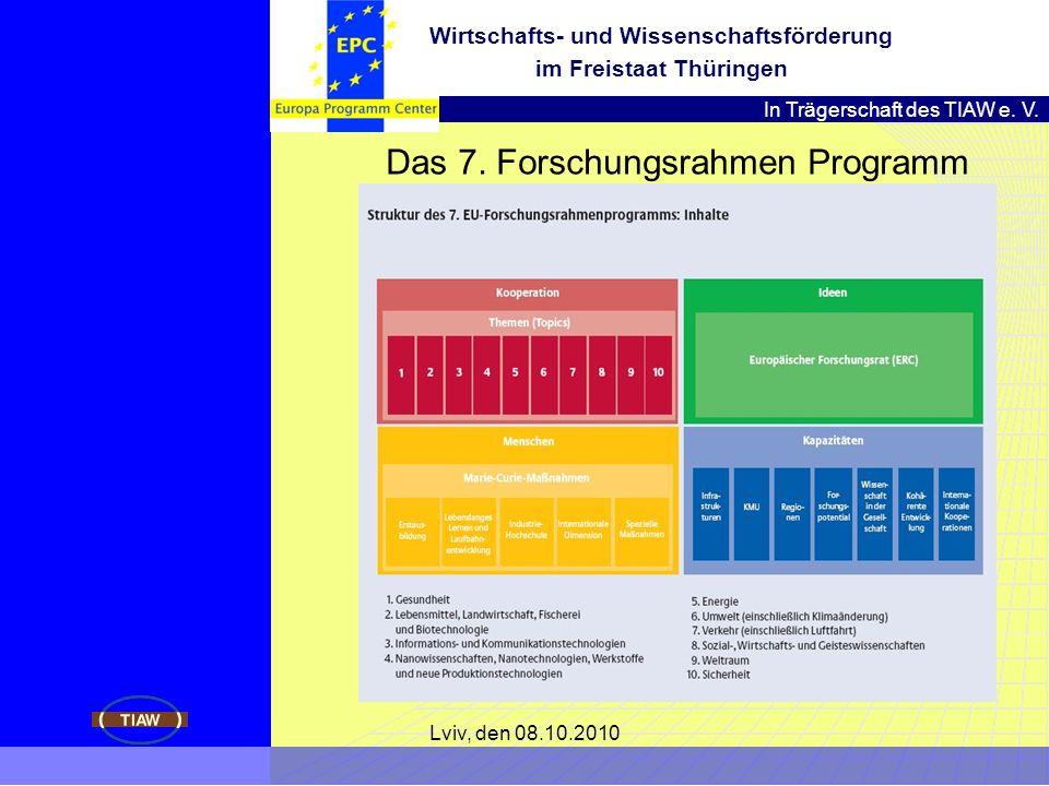 In Trägerschaft des TIAW e. V. Wirtschafts- und Wissenschaftsförderung im Freistaat Thüringen Lviv, den 08.10.2010 Das 7. Forschungsrahmen Programm