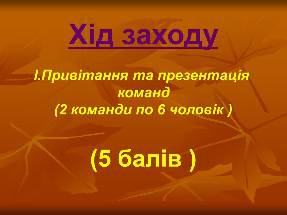 Хід заходу I.Привітання та презентація команд (2 команди по 6 чоловік ) (5 балів )