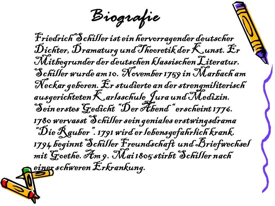Biografie Friedrich Schiller ist ein hervorragender deutscher Dichter, Dramaturg und Theoretik der Kunst. Er Mitbegrunder der deutschen klassischen Li