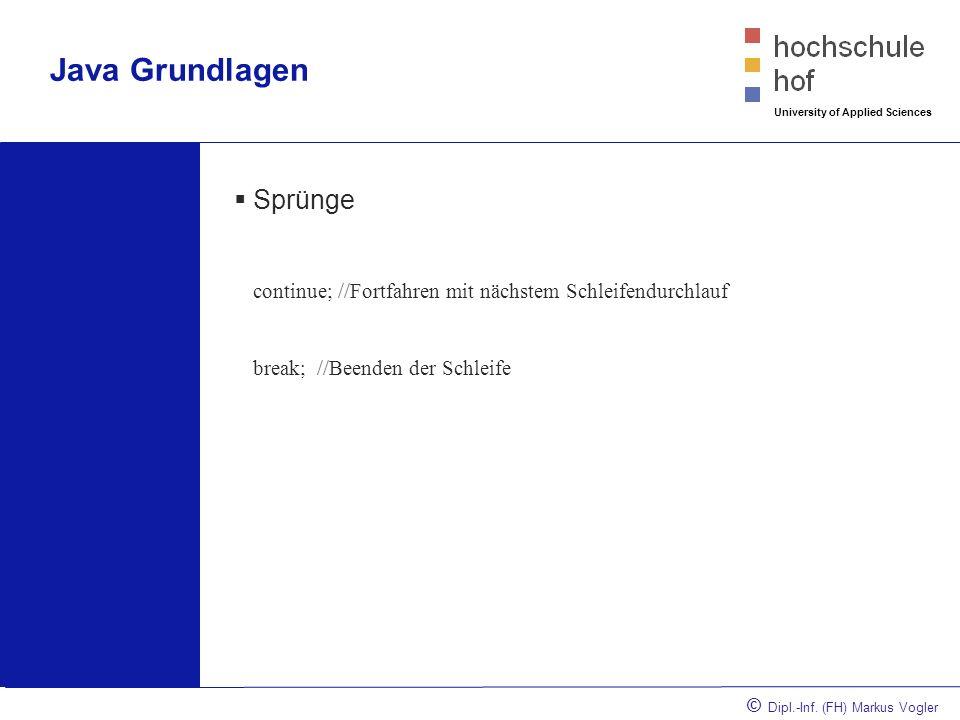 © Dipl.-Inf. (FH) Markus Vogler University of Applied Sciences Java Grundlagen Progarmmablaufplan