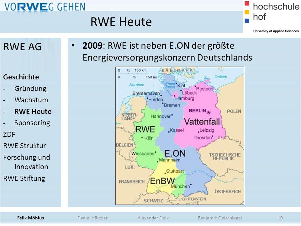 10 2009: RWE ist neben E.ON der größte Energieversorgungskonzern Deutschlands RWE Heute Felix Möbius Daniel Häupler Alexander Fielk Benjamin Oelschleg