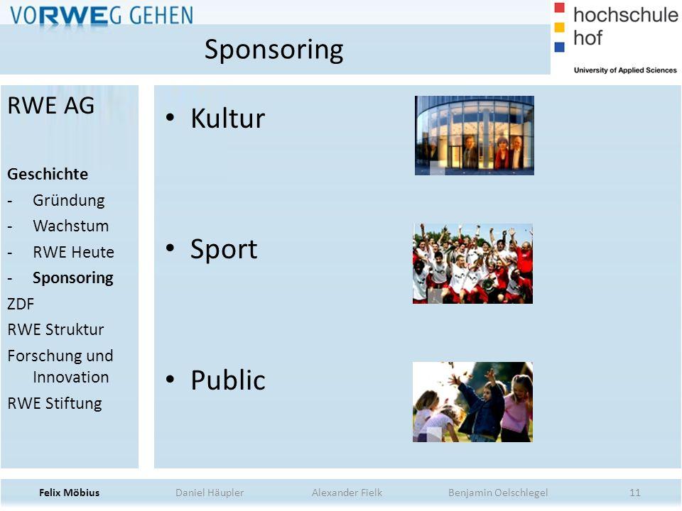 11 Kultur Sport Public Sponsoring Felix Möbius Daniel Häupler Alexander Fielk Benjamin Oelschlegel RWE AG Geschichte -Gründung -Wachstum -RWE Heute -S