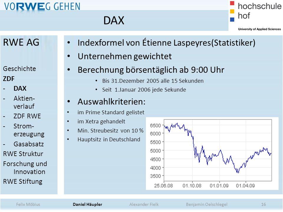 16 Indexformel von Étienne Laspeyres(Statistiker) Unternehmen gewichtet Berechnung börsentäglich ab 9:00 Uhr Bis 31.Dezember 2005 alle 15 Sekunden Sei